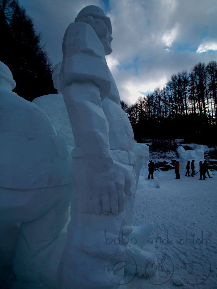 Taebaekson Snow Festival Ice Sculpture of Standing Man