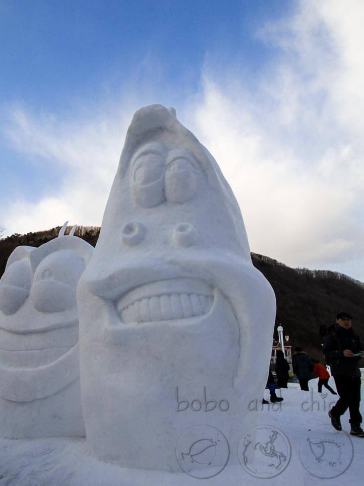 Taebaekson Snow Festival Ice Sculpture Friends