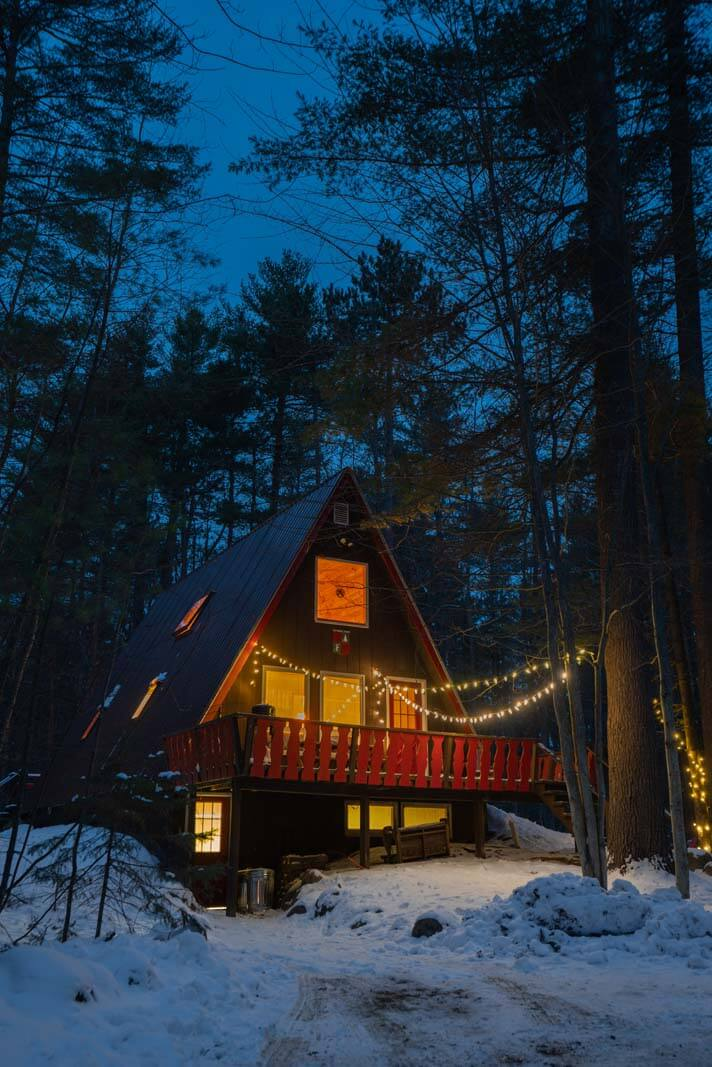 A FRAME Adirondack Cabin Night Shot in Jay NY