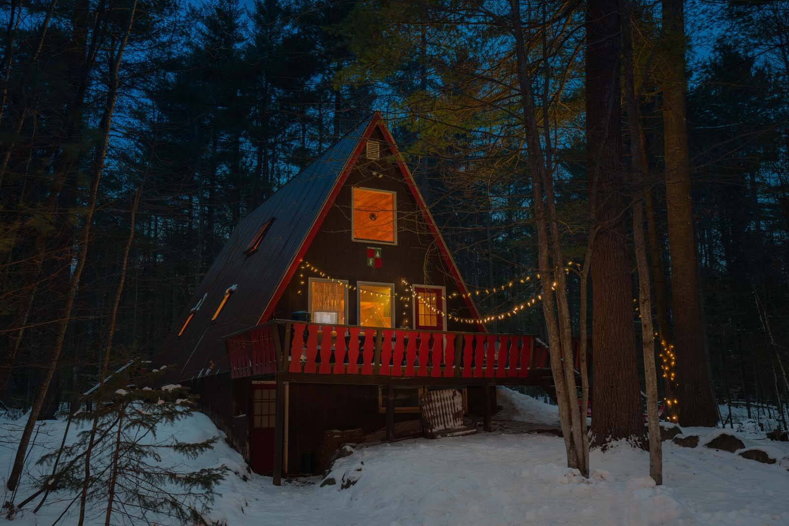 A frame cabin airbnb in new york in Jay in the Adirondacks
