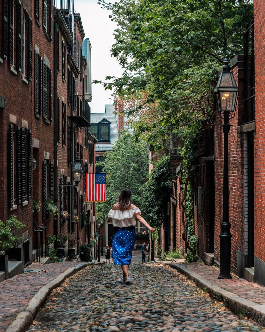 Acorn Street in Beacon Hill in Boston