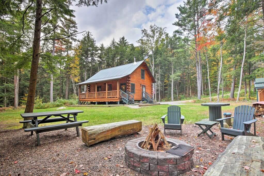 Adirondack Riverfront Log Cabin rental in upstate new york