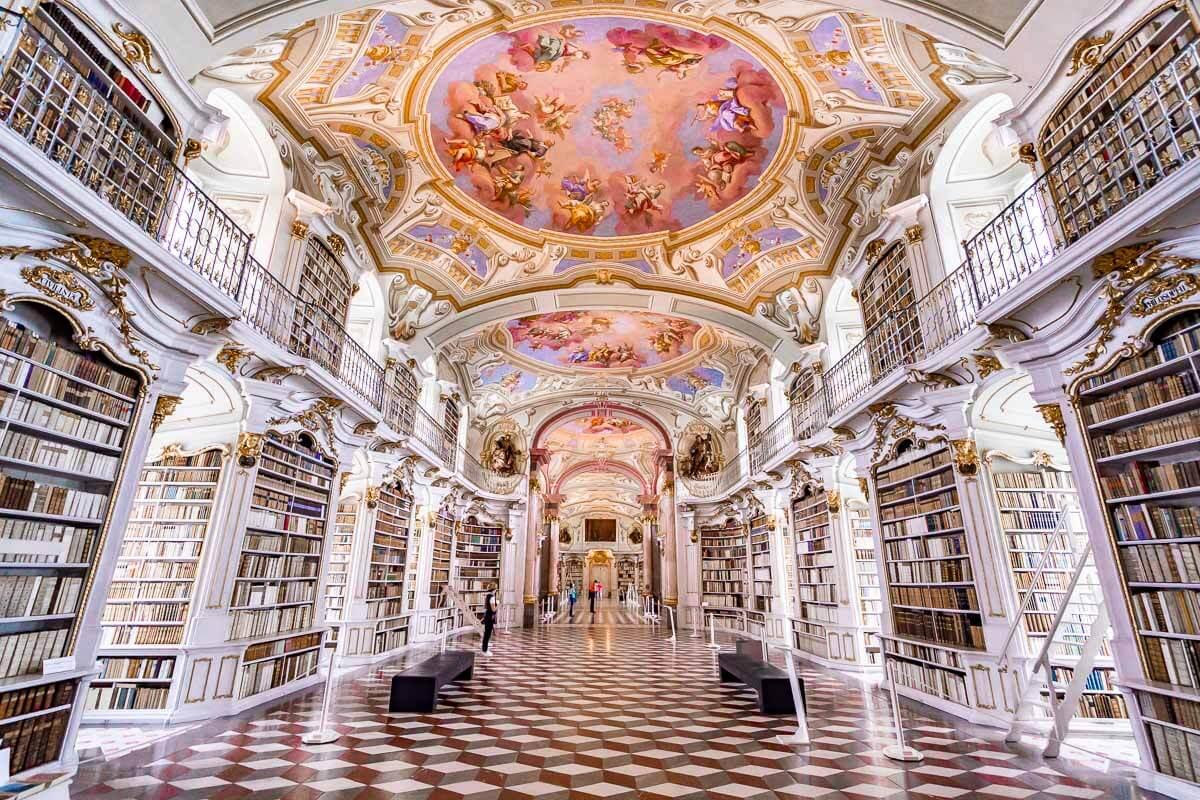 Admont Abbey Library interior in Austria
