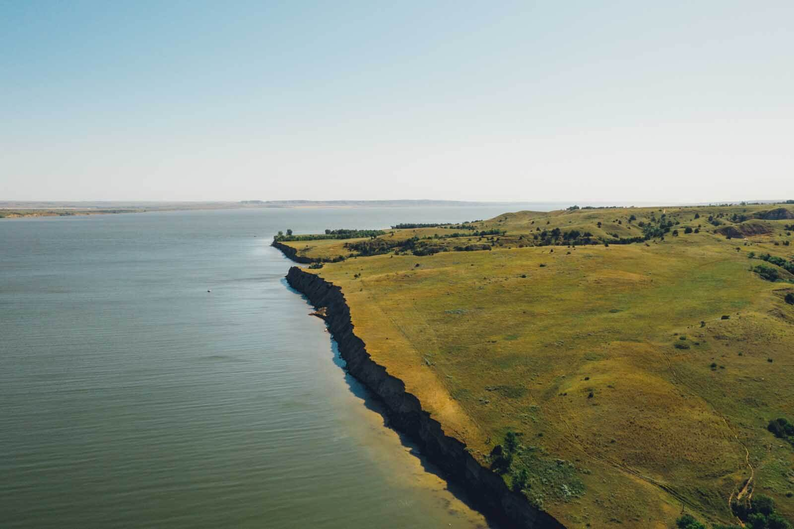 aerial view of lake sakakawea and the missouri river in North Dakota