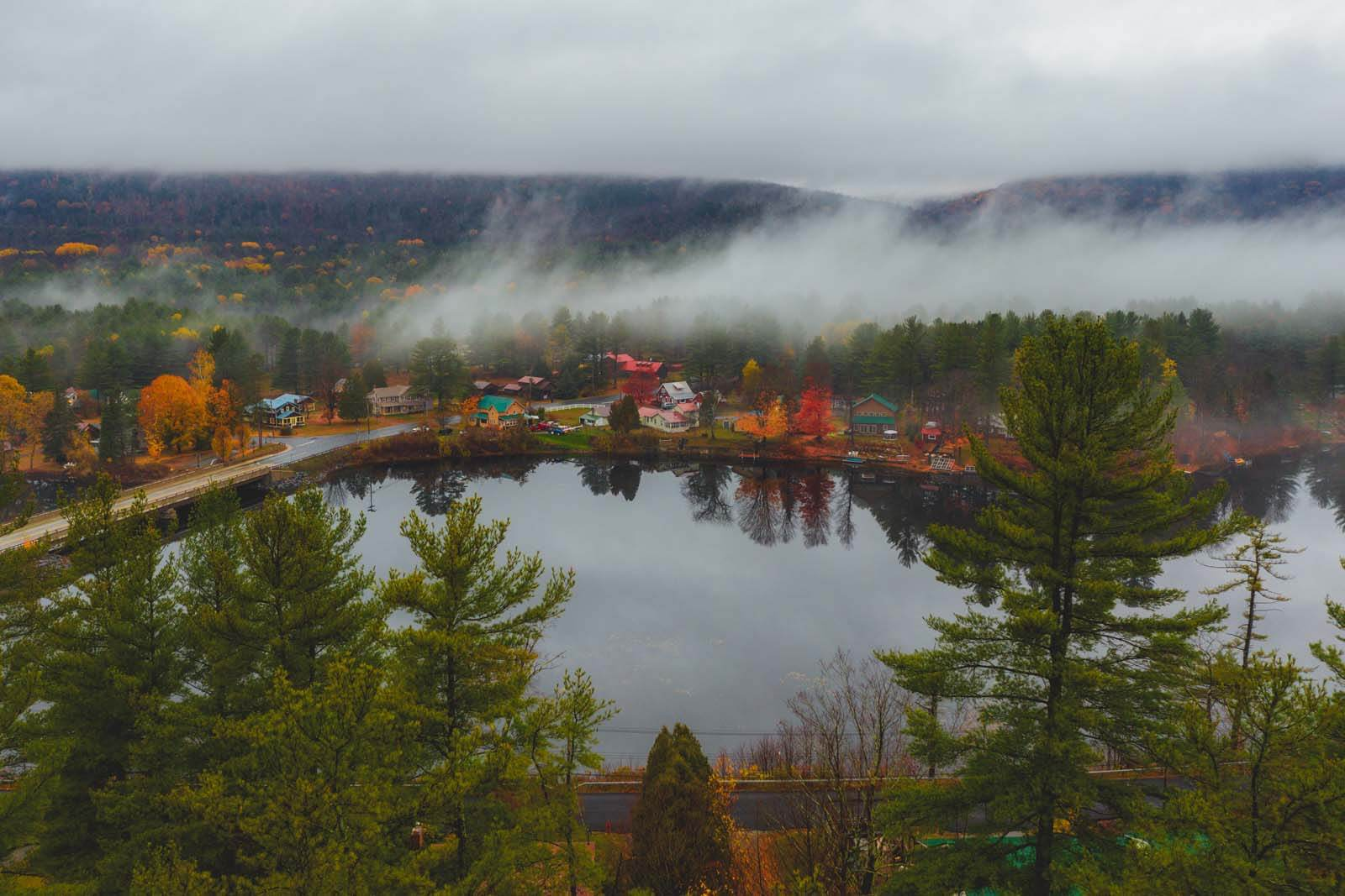 Aerial shot of Wells New York in the Adirondacks in the fall