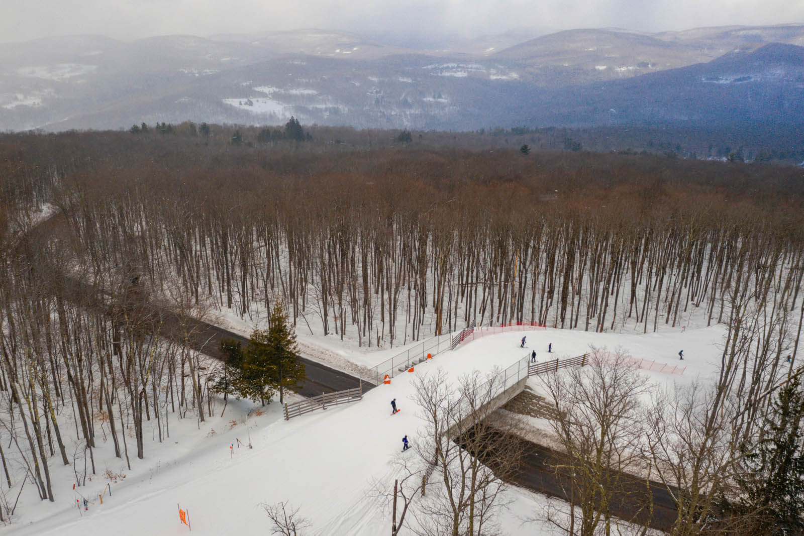 Aerial view of skiiers at Bellayre Ski Resort in the Catskills in the winter in New York