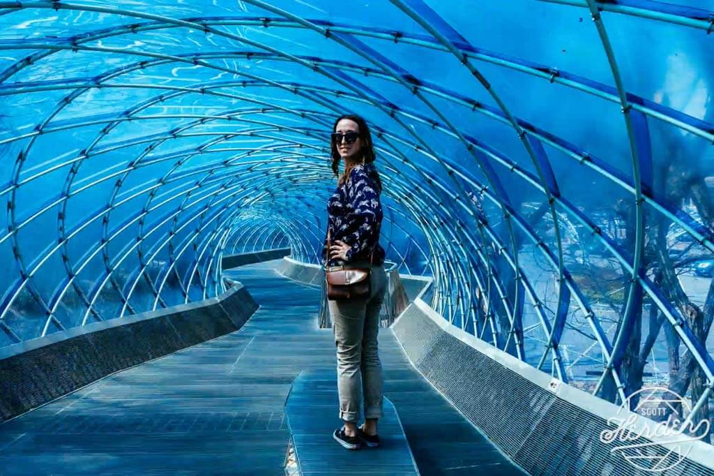 Megan standing in the tunnel at Anyang-Art-Park outside of Seoul