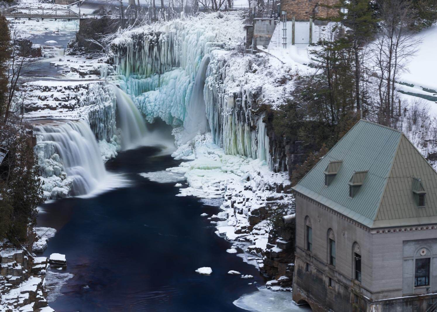 Ausable Chasm frozen over during winter in the Adirondacks New York