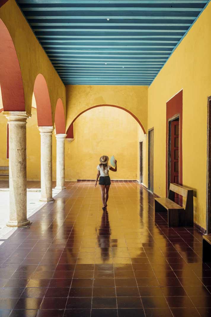 Walking down the cute buildings of Campeche