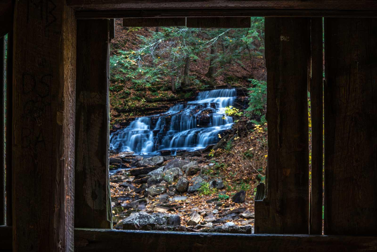 Beecher-Creek-Falls-in-New-York-near-Edinburg-in-the-Adirondacks-from-the-Copeland-Covered-Bridge