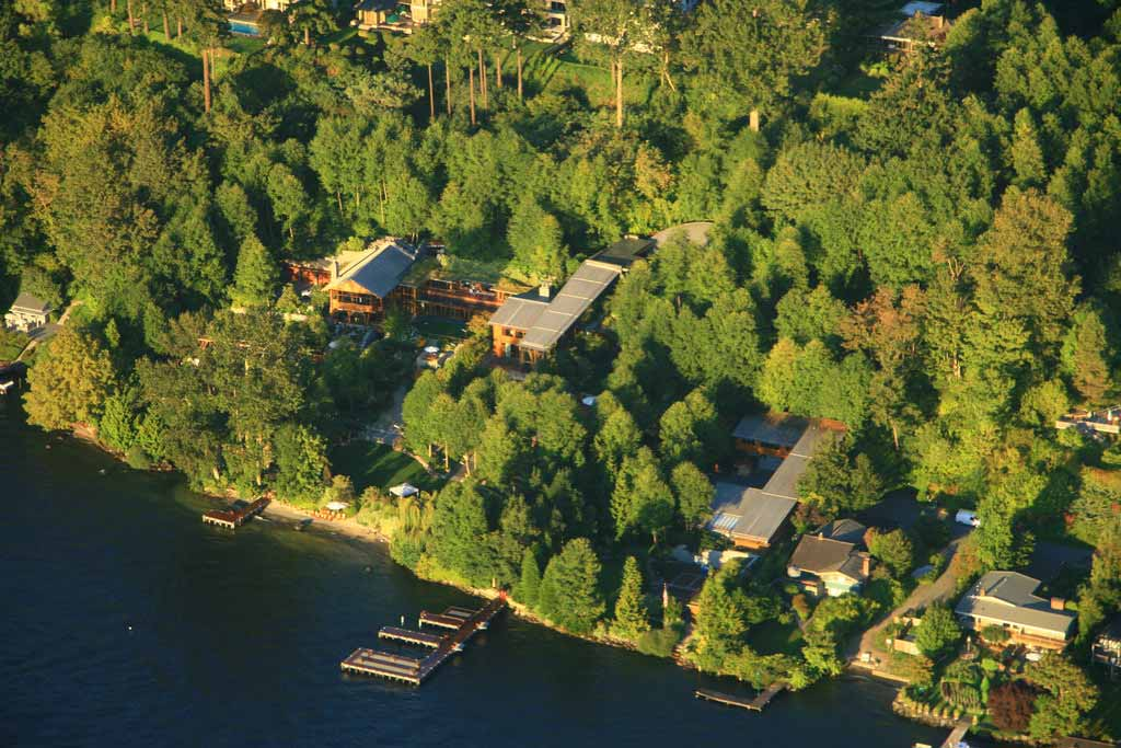 A helicopter view of Bill Gates House in Seattle Washington
