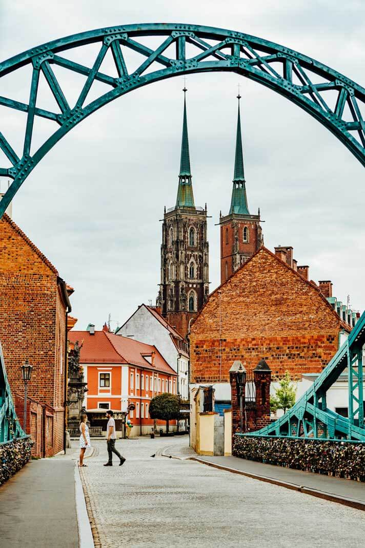 Most Tumski connecting to Cathedral Island in Wroclaw Poland