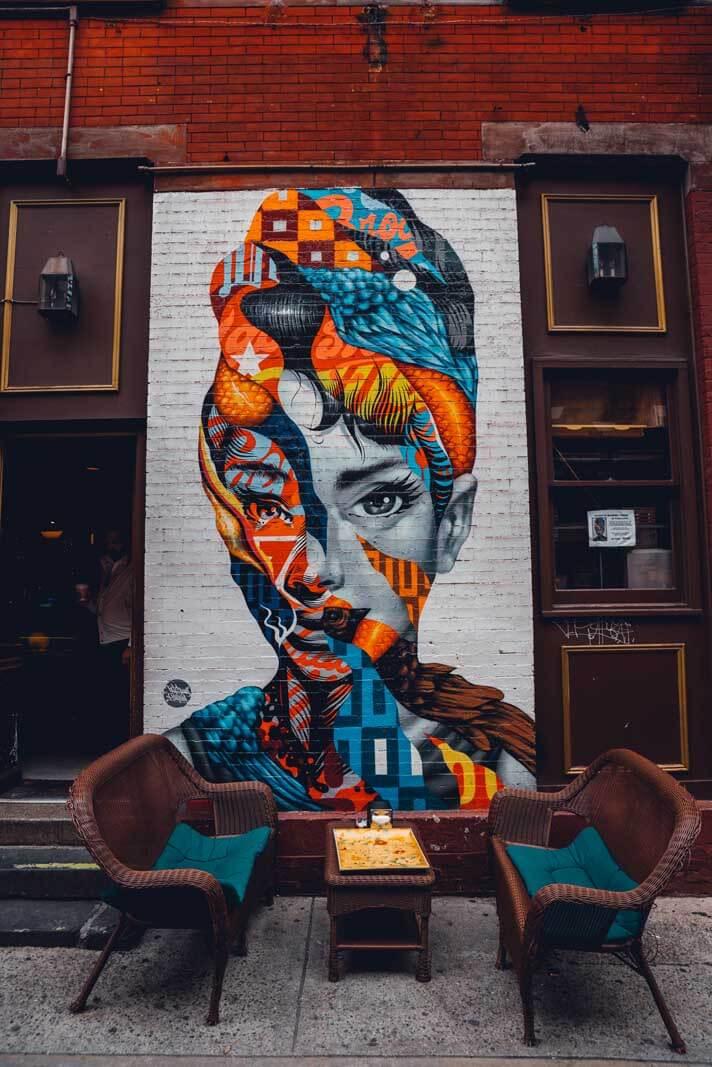 Breakfast at Tiffany's street art in Little Italy New York