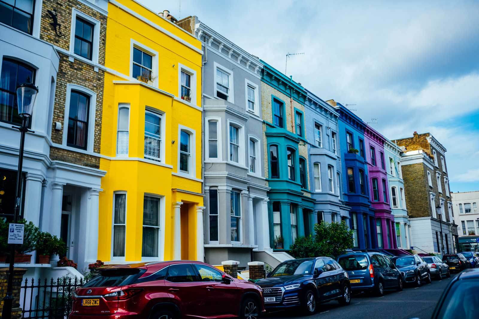 Colorful homes on Lancaster Road in Notting Hill