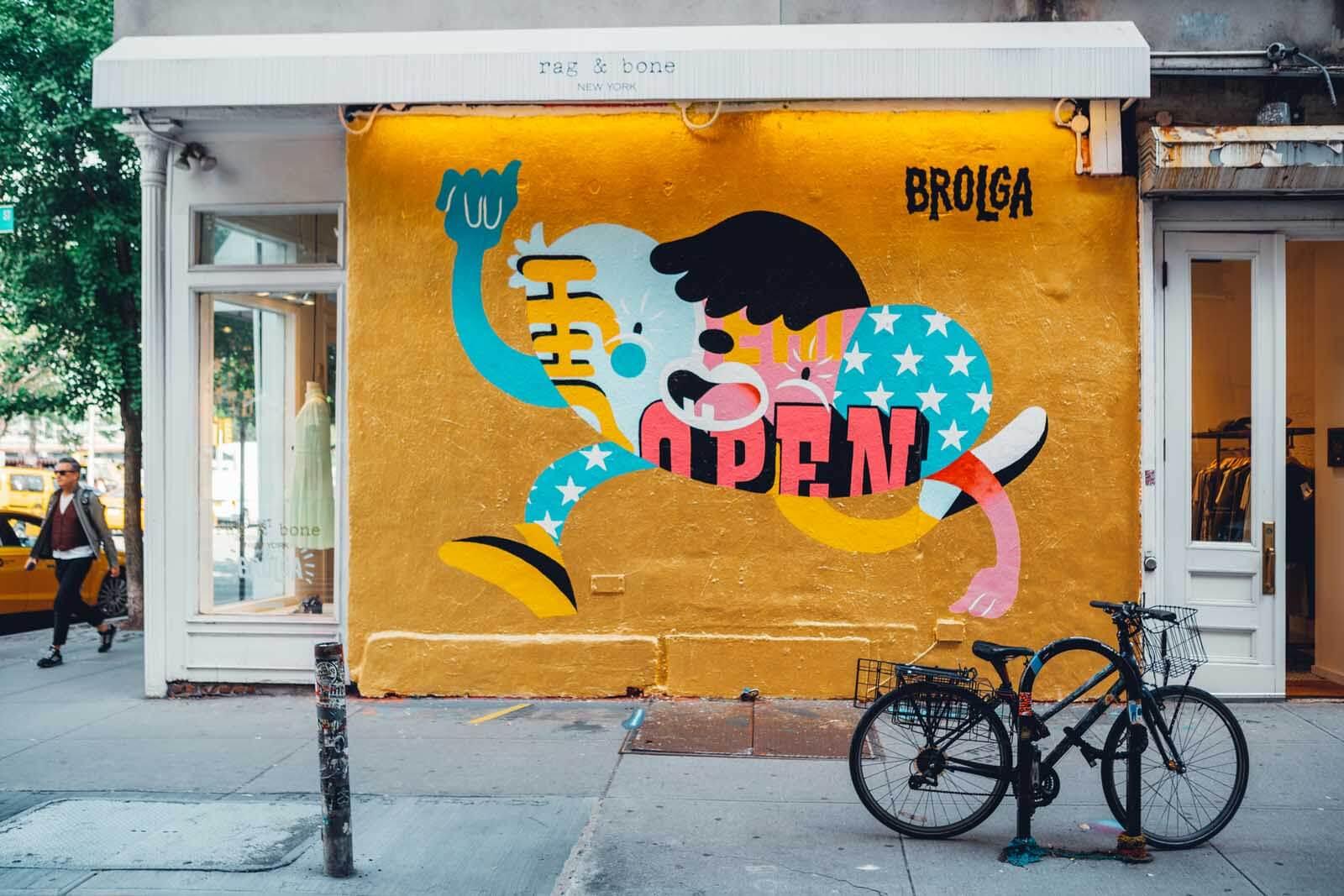 Brolga Mural in Nolita New York City