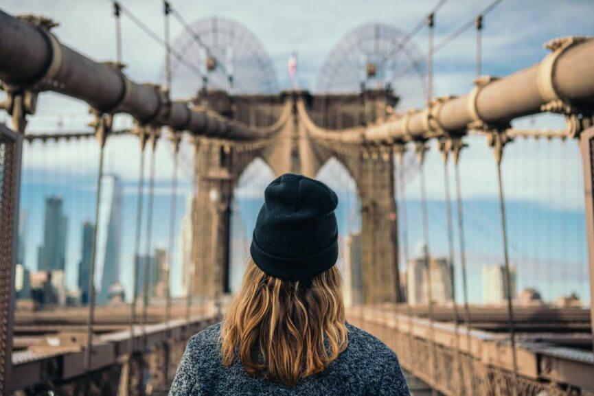 Megan Looking at Brooklyn Bridge