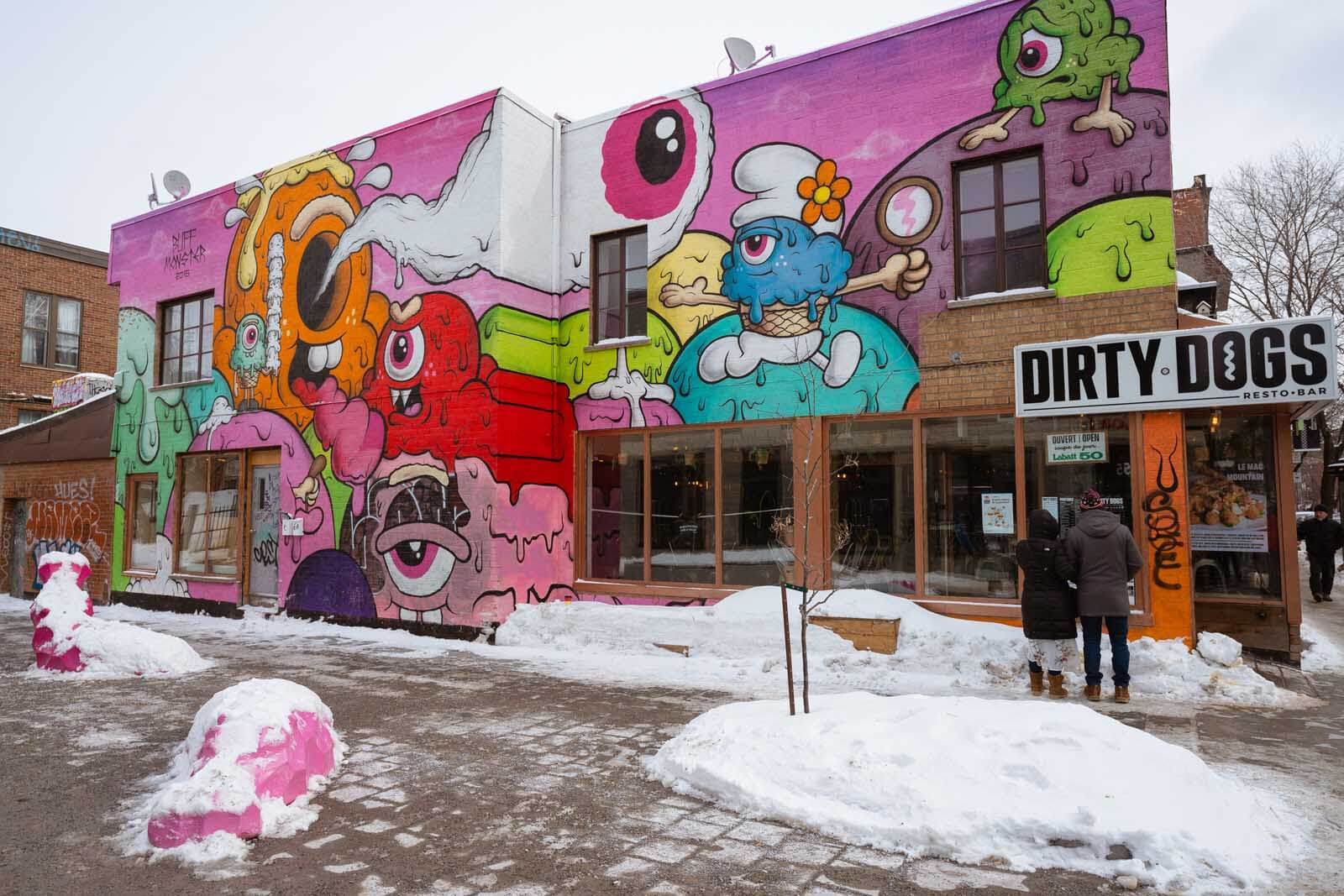 Buff Monster Mural on Saint Laurent in Plateau in Montreal