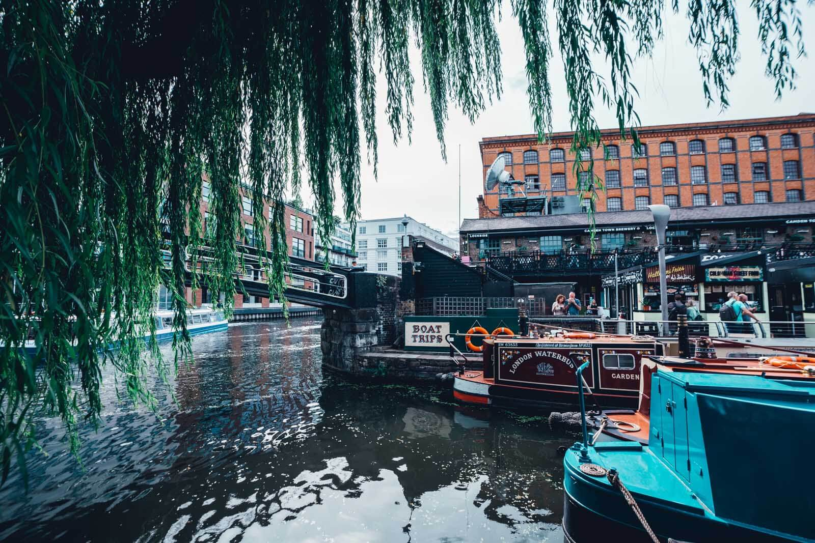 Camden Market and boats in London