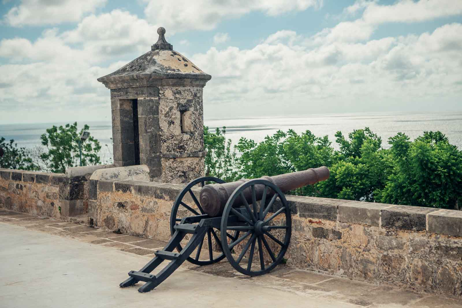 View of cannon and water from Campeche Fort