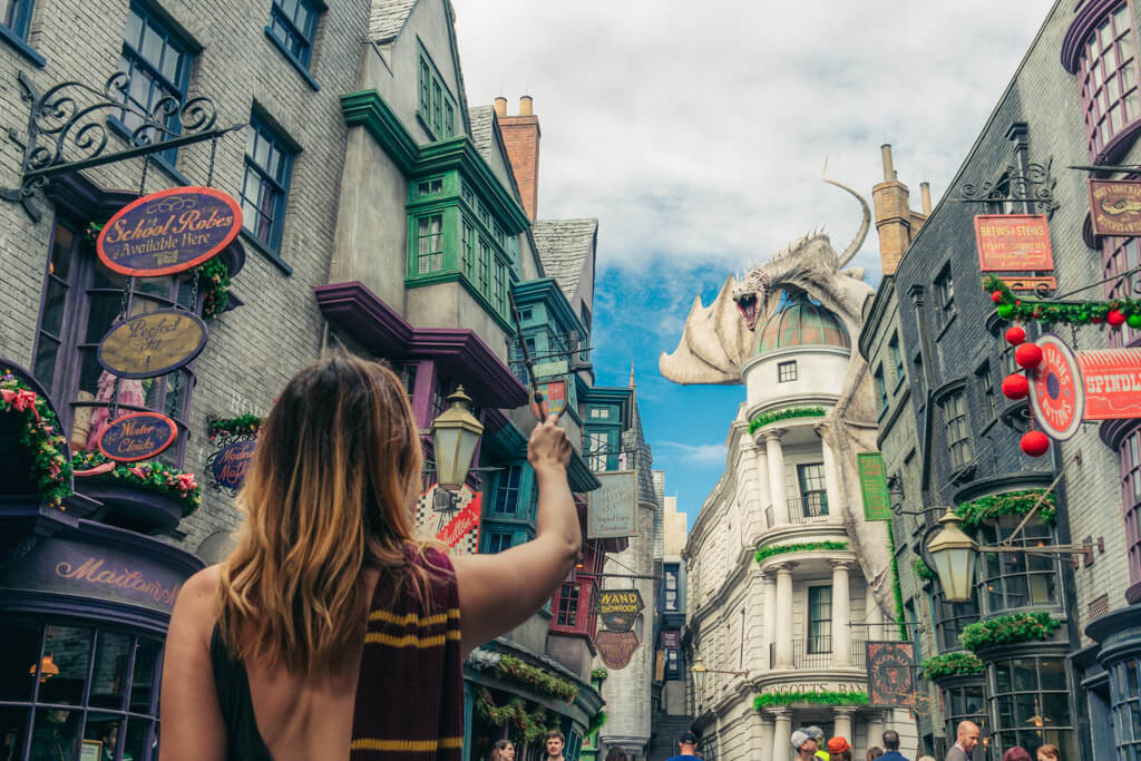 Casting spells in Diagon Alley at Wizarding World of Harry Potter