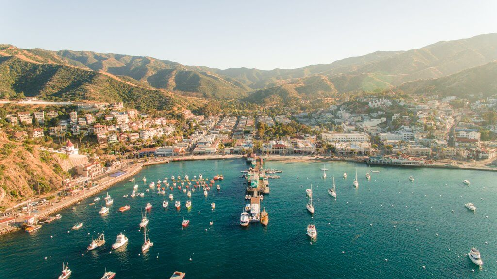 Drone view of Catalina Island in California