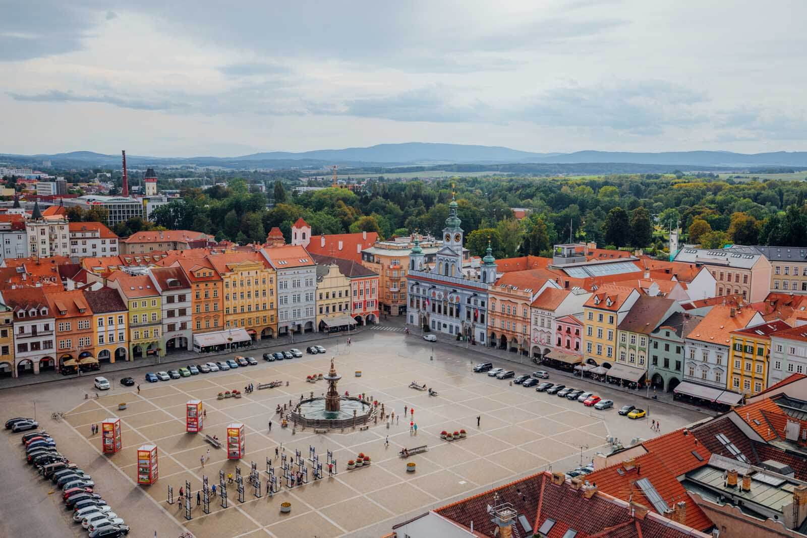 town center of Ceske Budejovice from Black Tower