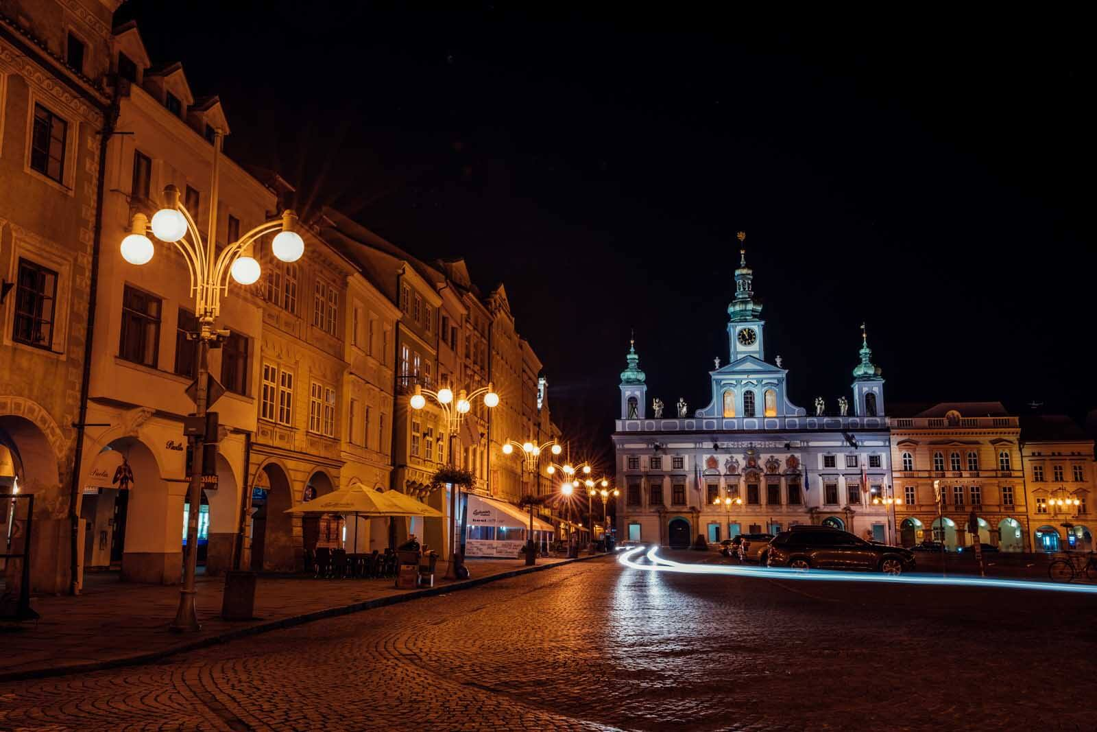 Ceske Budejovice town hall at night in the Czech Republic