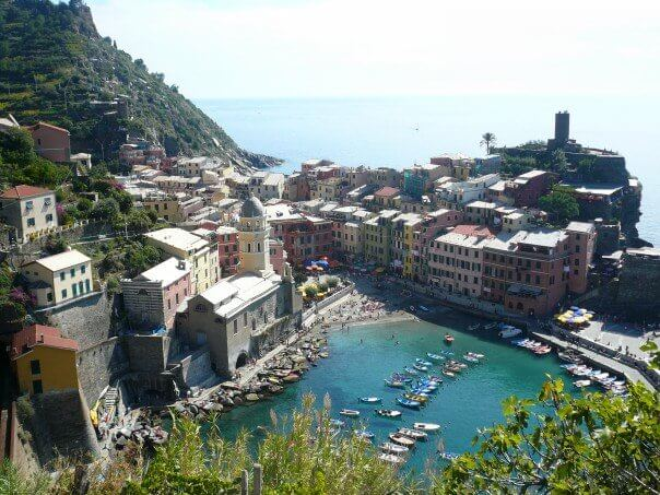 Wide view of Cinque Terra in italy