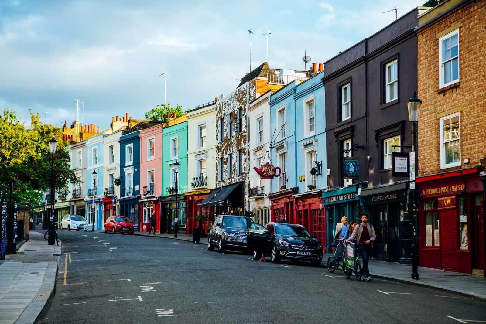 Colorful buildings on Portobello Road in London