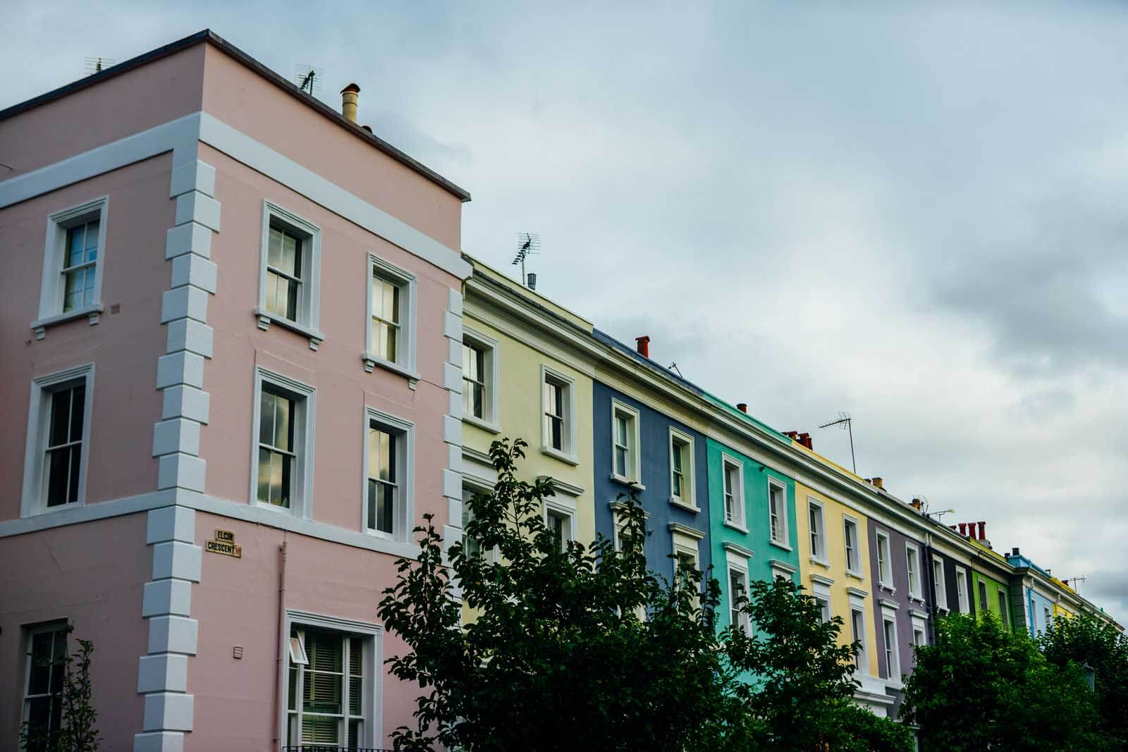Colorful homes of Elgin Road in Notting Hill London