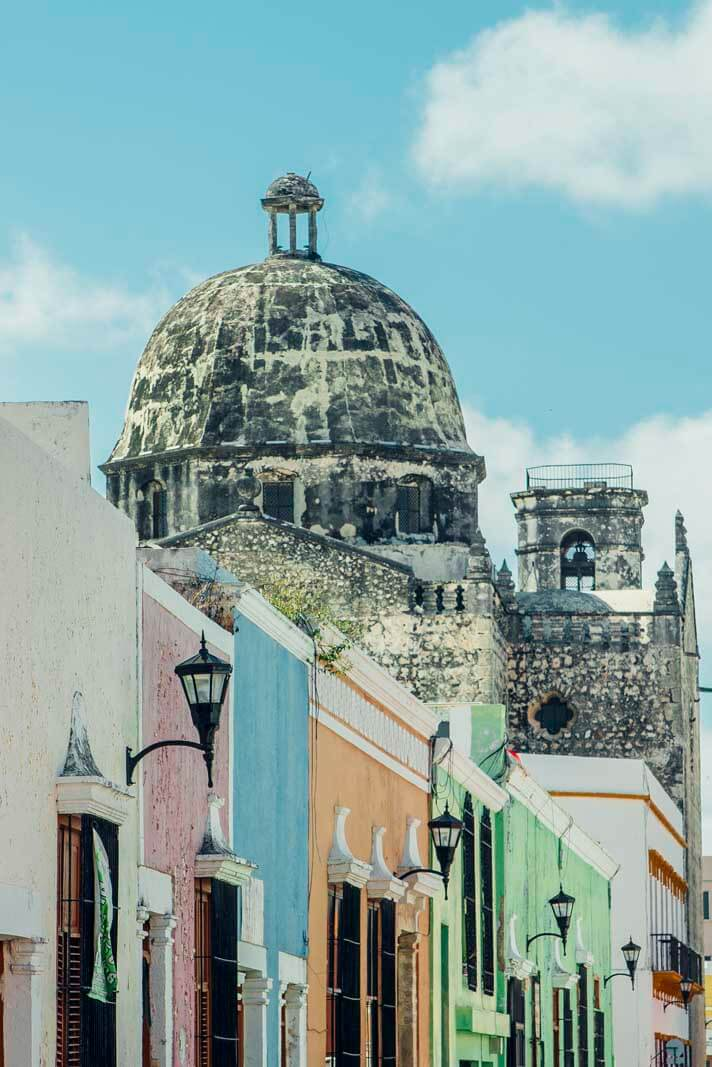Colorful streets of Campeche Mexico