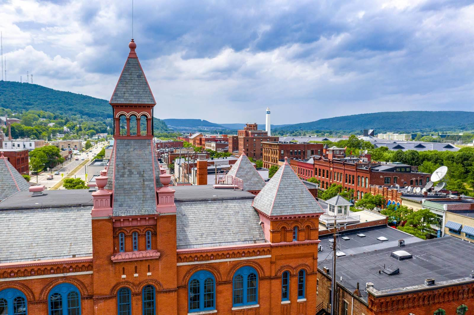 aerial view of Corning New York a charming Finger Lakes town in New York