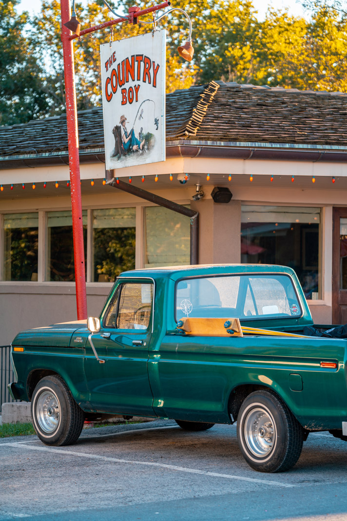 Country Boy restaurant and old truck in Leipers Fork Tennessee