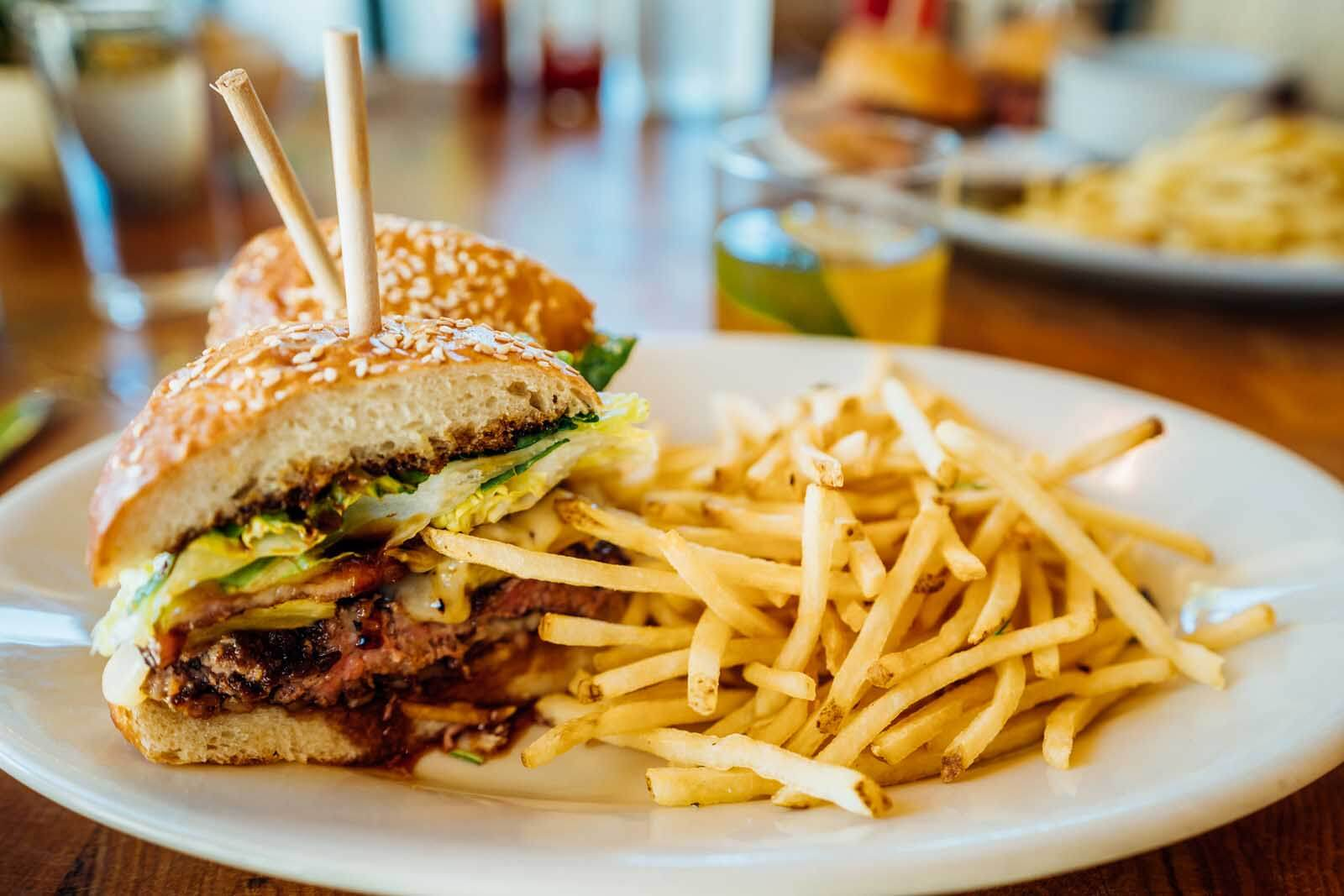 Burger and Fries at Cowiche Canyon Kitchen & Icehouse
