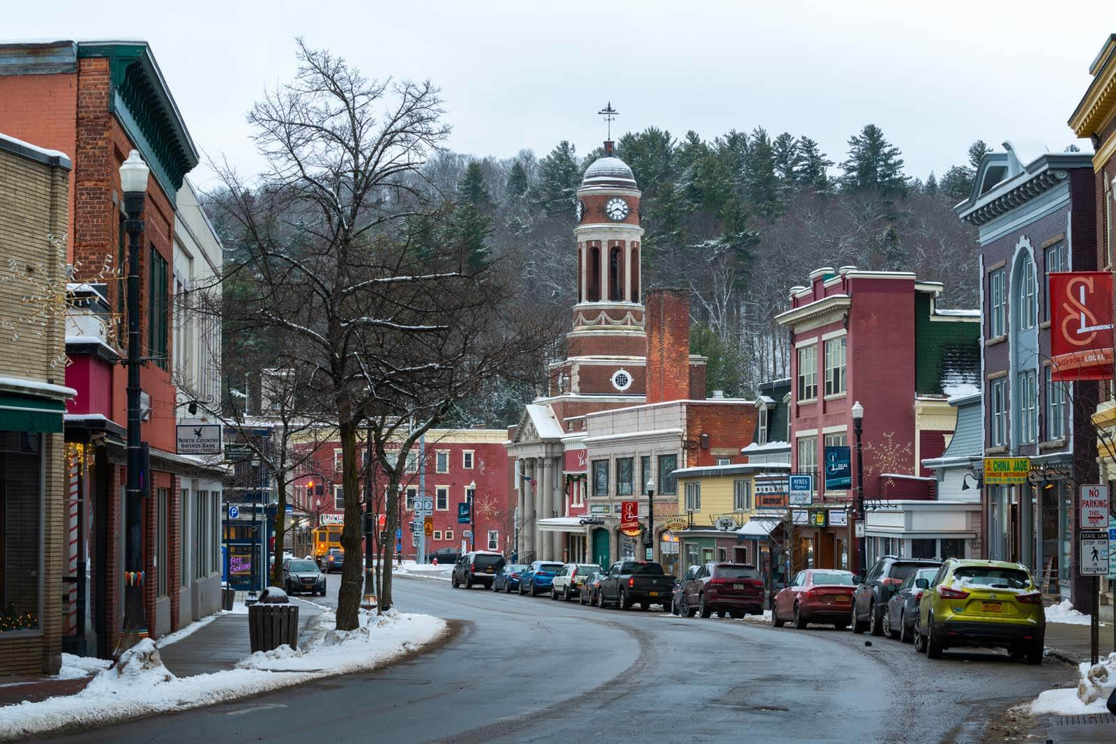 Downtown Saranac Lake in the Adirondacks New York