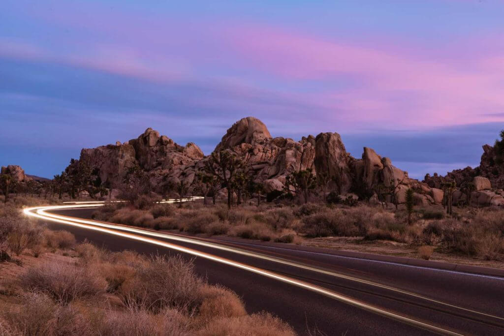 car light trails in Joshua Tree National Park