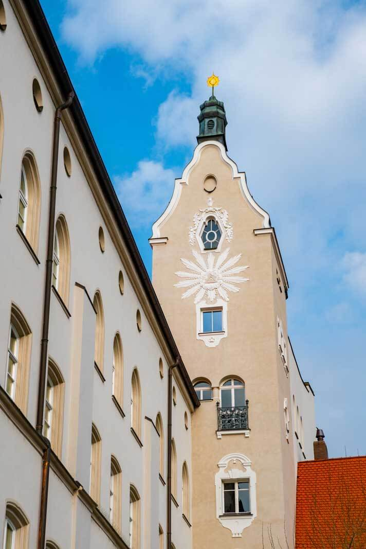 a family tower attached to homes in Regensburg Germany