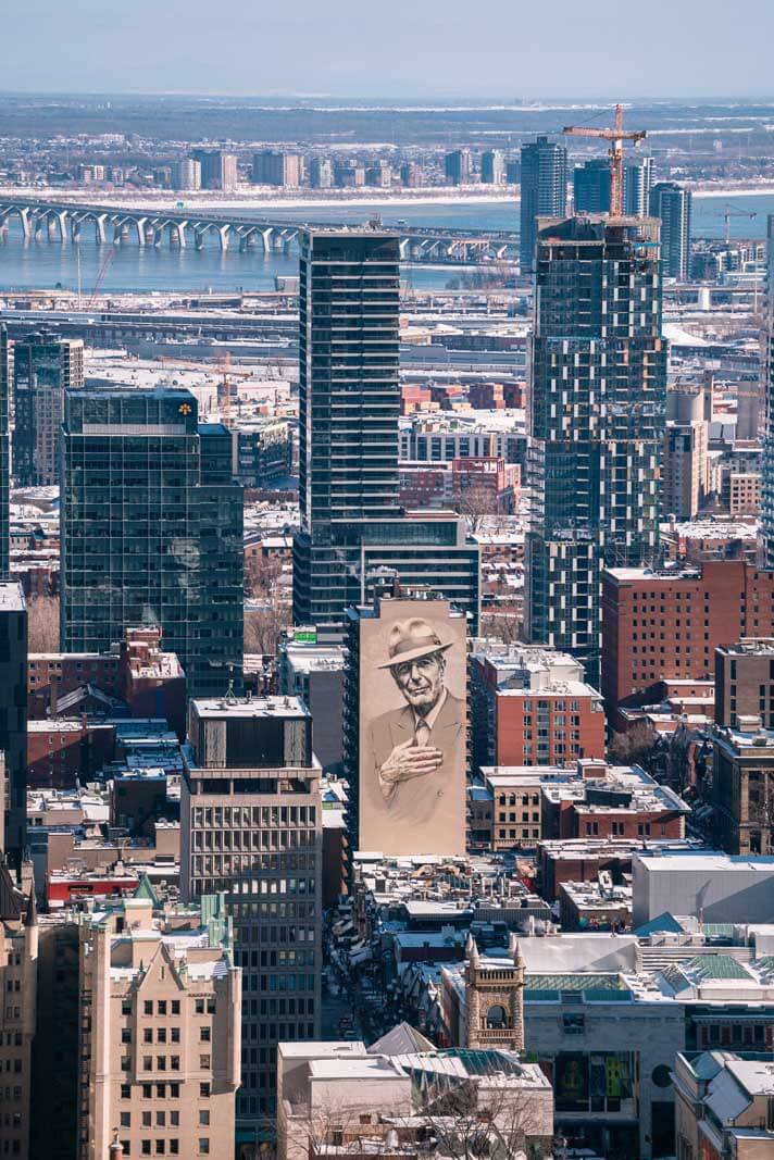 Famous Leonard Cohen mural in Montreal view from Mont Royal