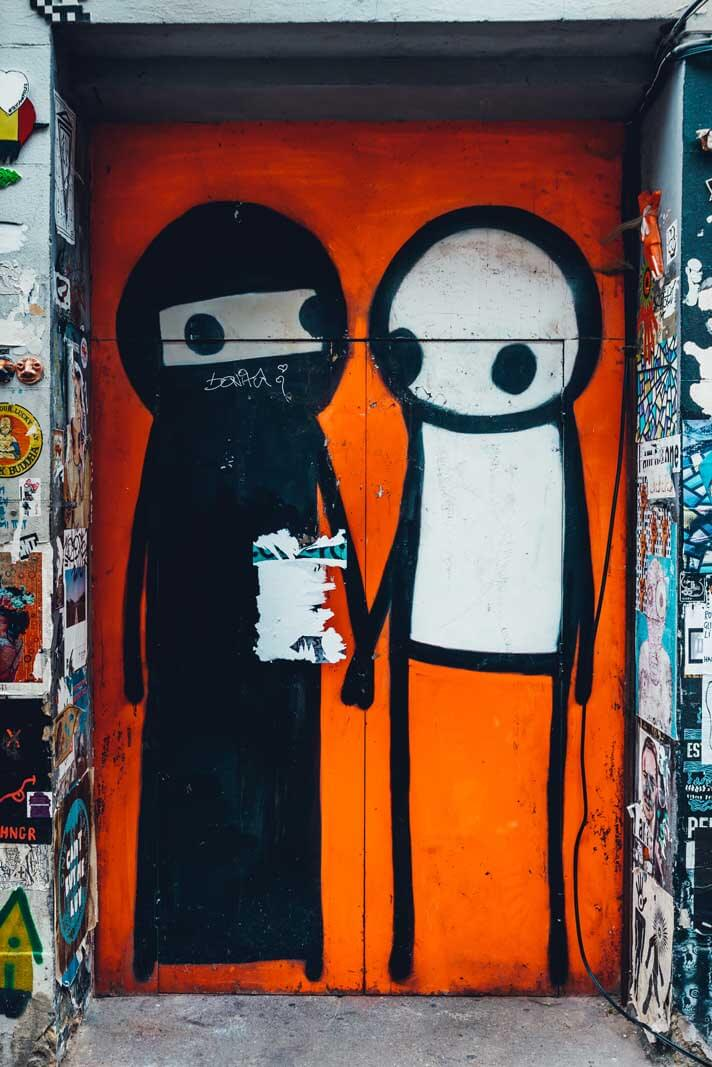Famous street art by Stik in Shoreditch London East End