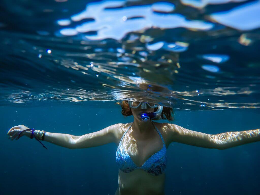 Girl snorkeling in Cebu Philippines