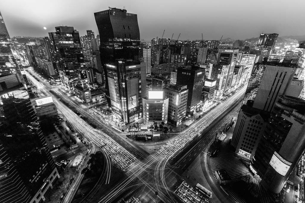 Gangnam rooftop black and white