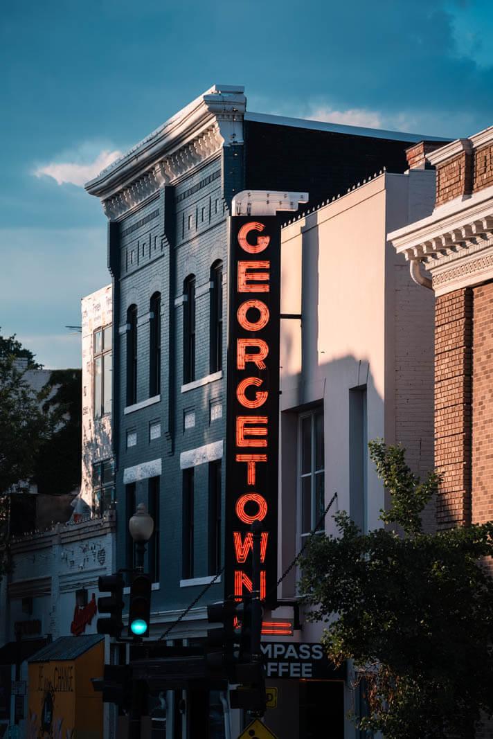 Georgetown sign in Washington DC