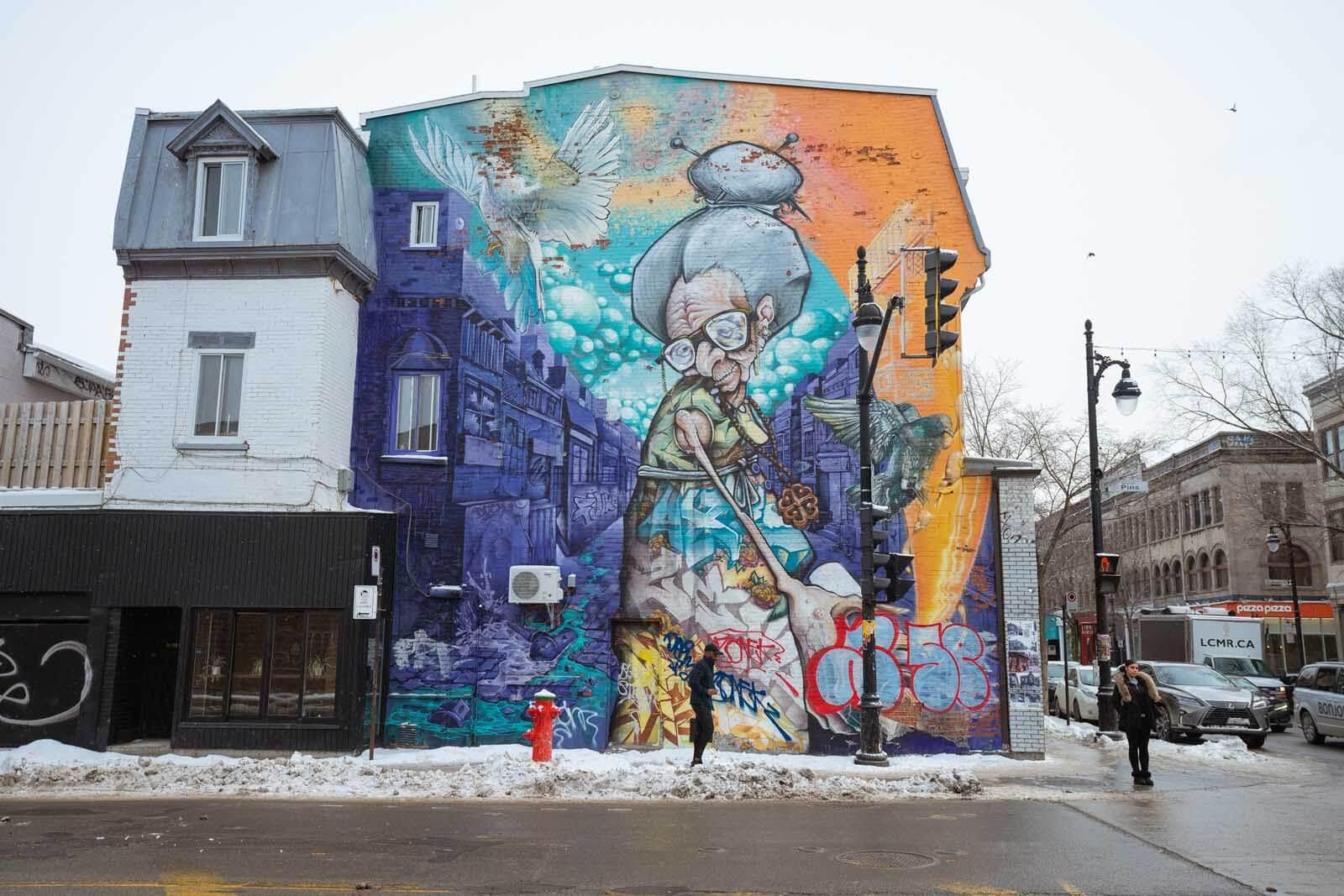 Graffiti Grandma in Montreal on Saint Laurent Boulevard