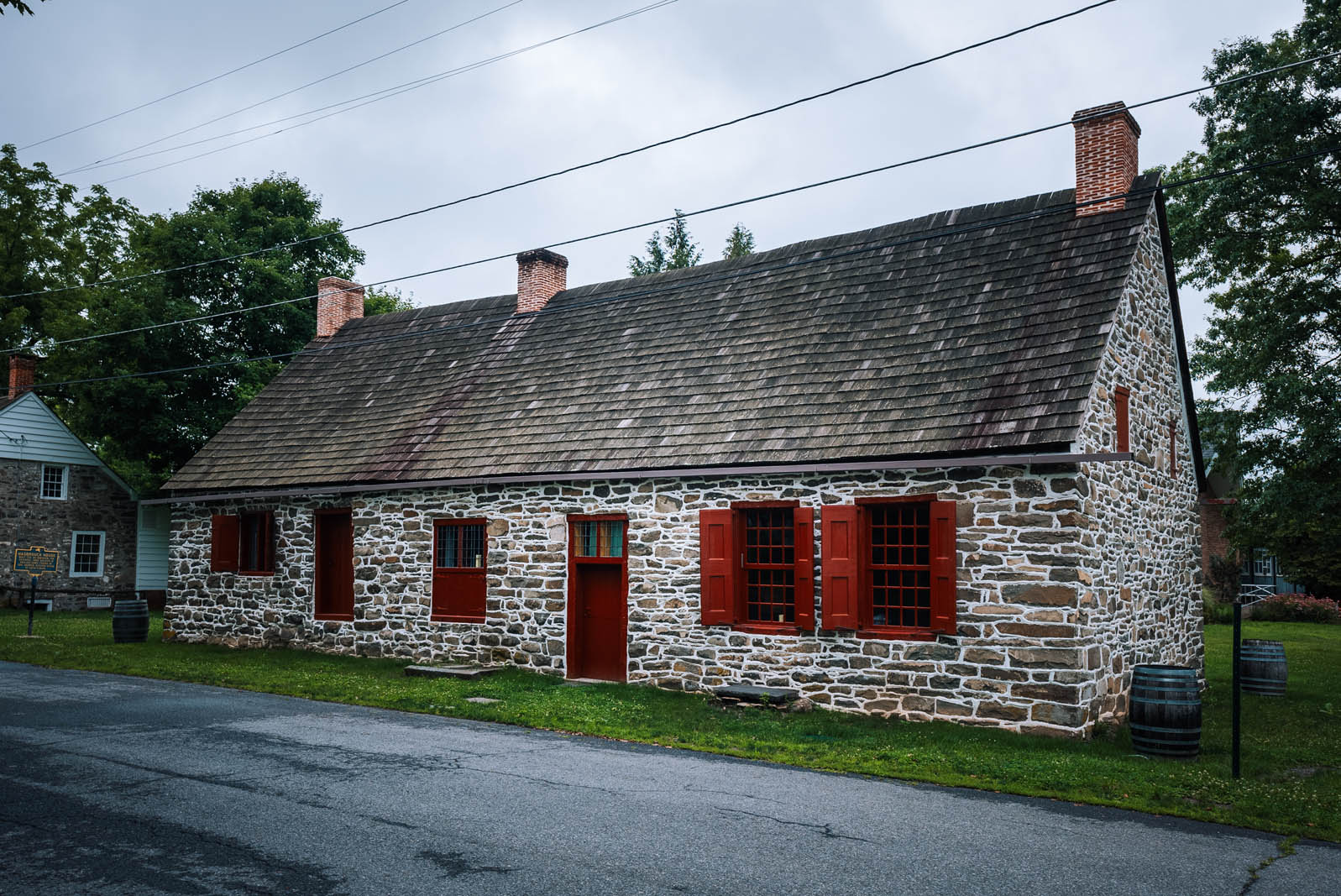 Historic Huguenot Street old stone homes in New Paltz New York