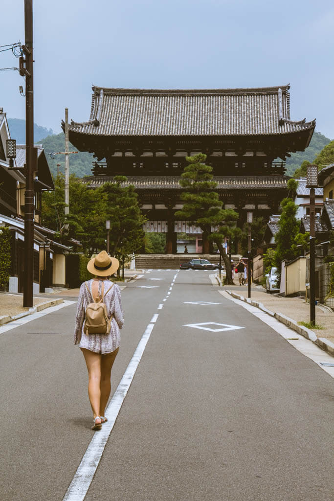 walking to a shrine in kyoto