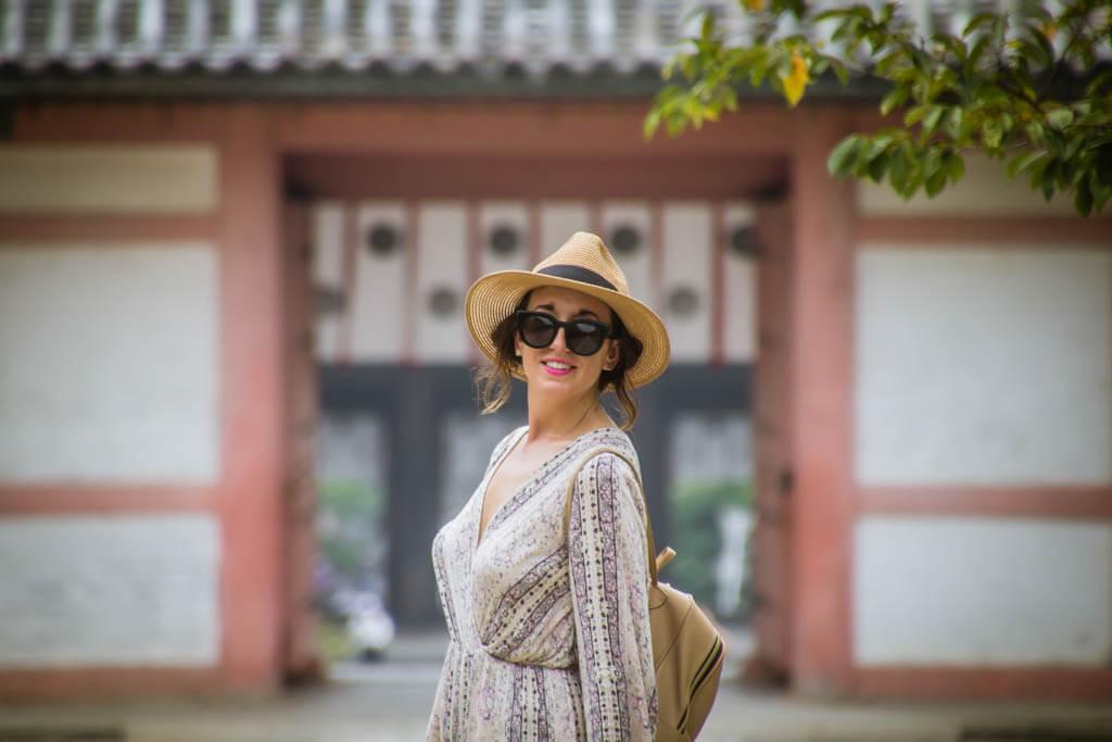 girl at shrine in kyoto