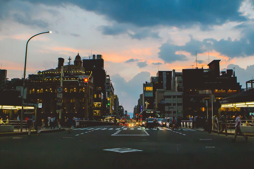buildings at sunset in kawaramachi kyoto