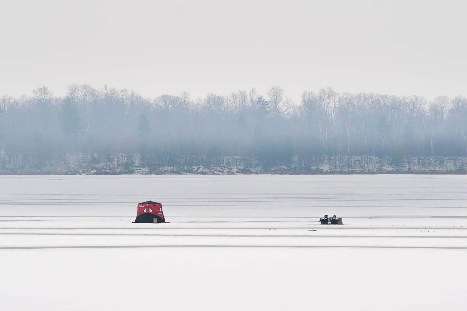 Ice fishing on Lake Champlain in Upstate New York