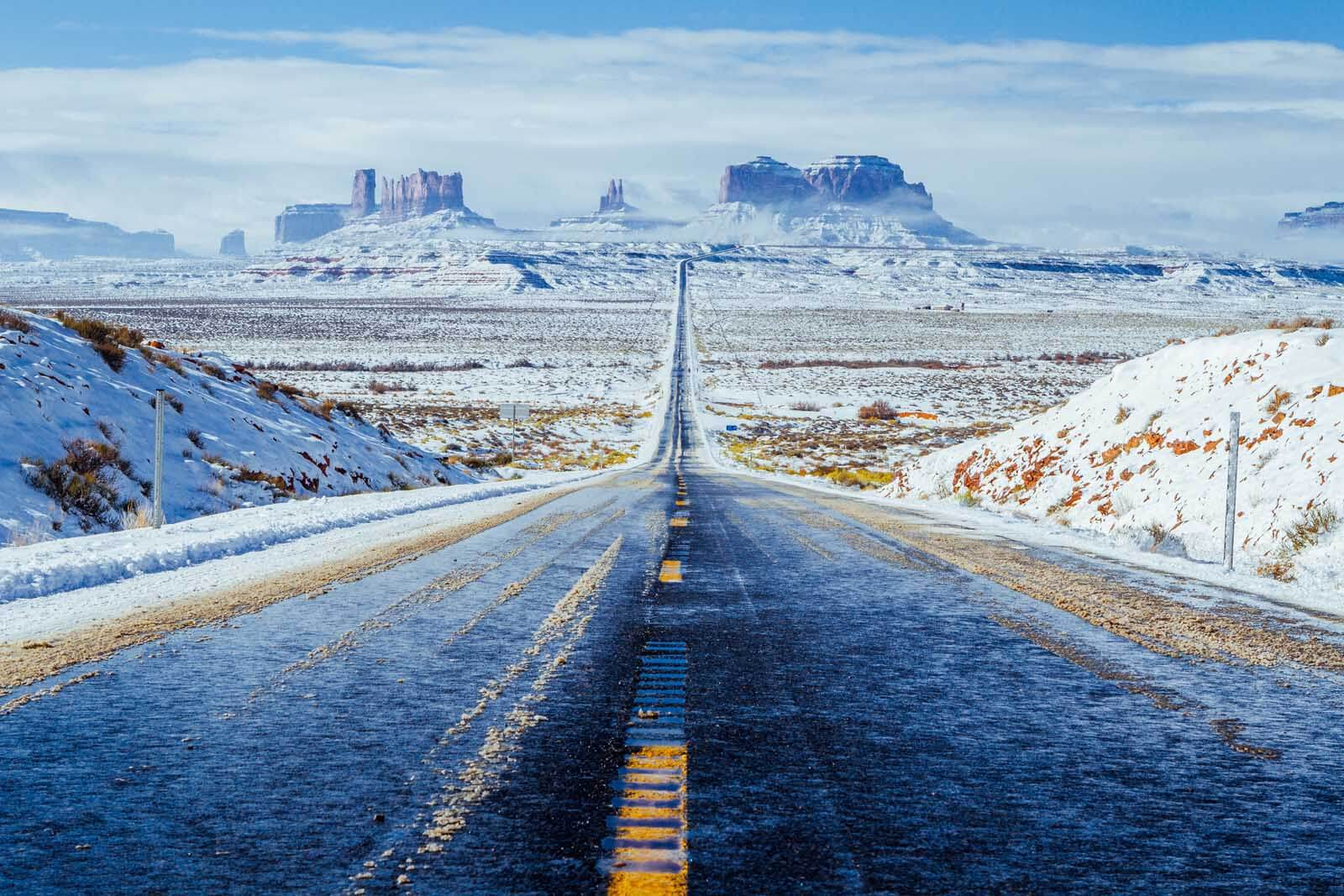 Monument Valley down the road with a blanket of snow