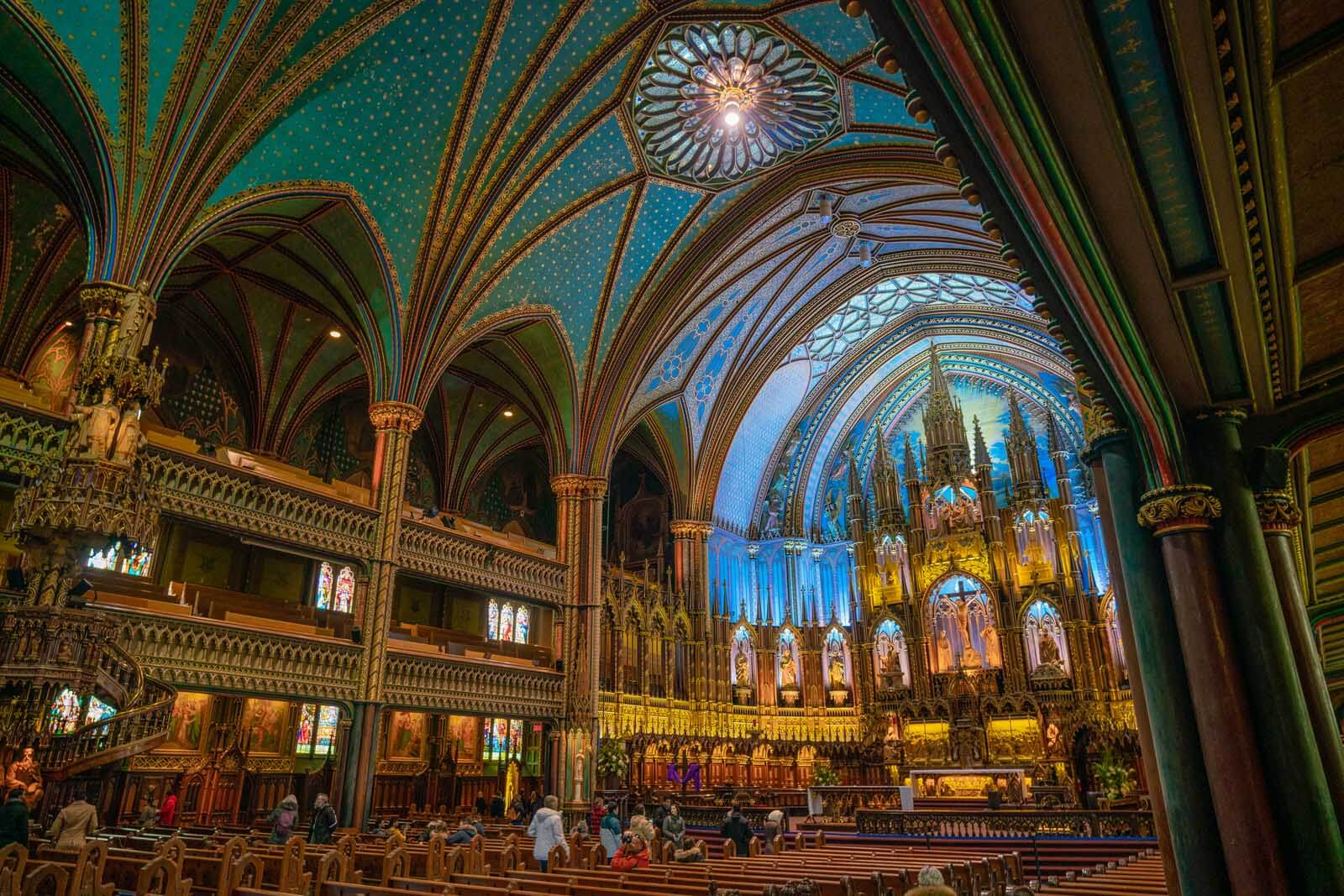 Inside Notre Dame Basilica in Montreal